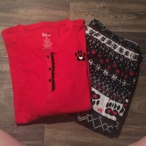 Paw Print Pajama Set